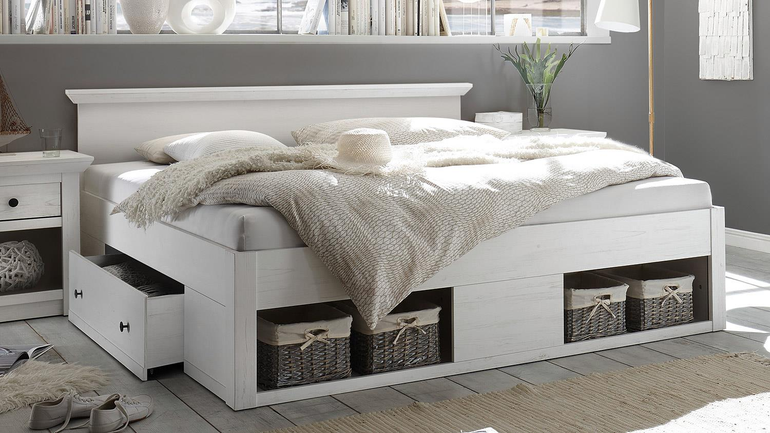 bett westerland doppelbett bettgestell f r schlafzimmer pinie wei 180. Black Bedroom Furniture Sets. Home Design Ideas