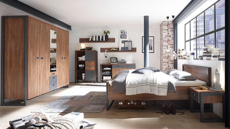 Schlafzimmer DETROIT Schrank Bett Nako Stirling Oak Matera anthrazit