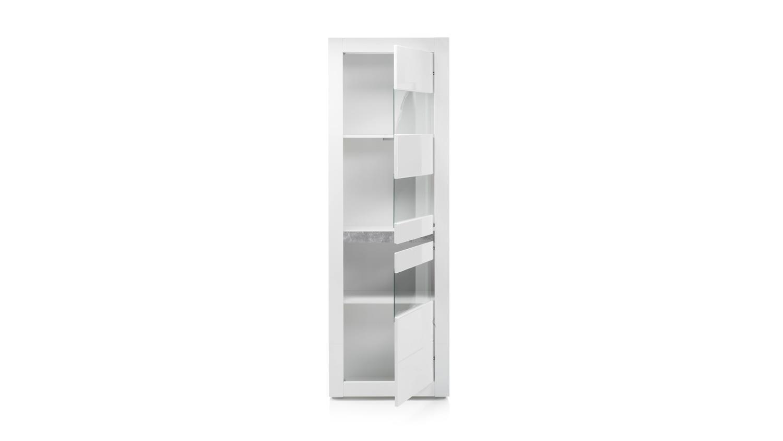 vitrine carat standvitrine glasvitrine wei hochglanz und beton grau. Black Bedroom Furniture Sets. Home Design Ideas