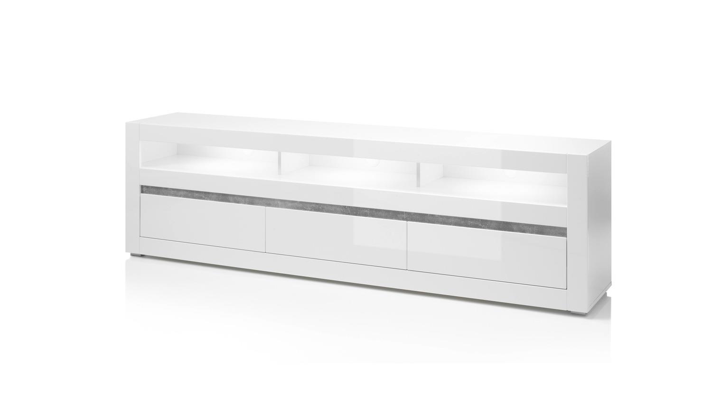 tv board carat unterschrank lowboard in wei hochglanz und beton grau. Black Bedroom Furniture Sets. Home Design Ideas