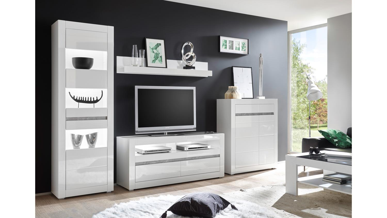 Wohnwand 1 CARAT Anbauwand Wohnzimmer weiß Hochglanz und Beton grau