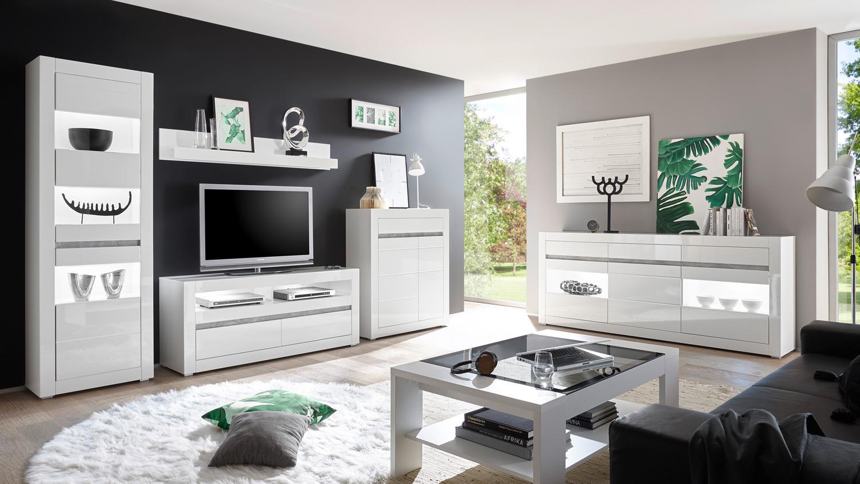 wohnwand 1 carat anbauwand wohnzimmer wei hochglanz und. Black Bedroom Furniture Sets. Home Design Ideas
