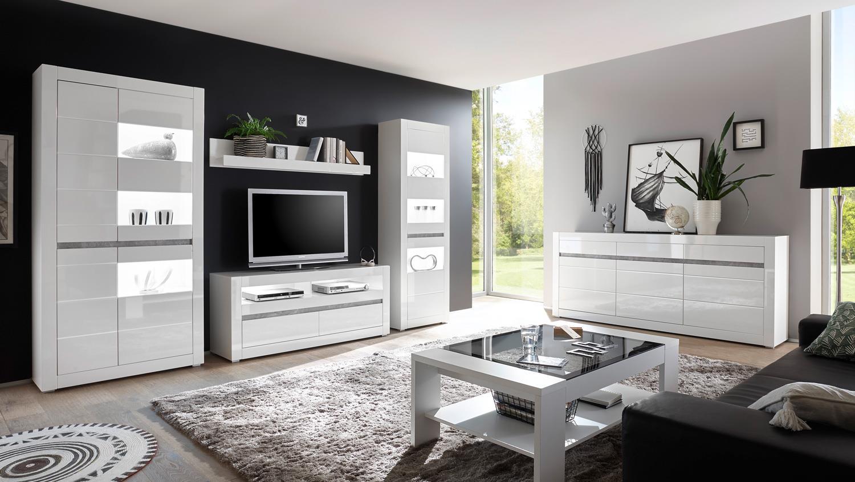 Wohnwand 2 CARAT Anbauwand Wohnzimmer weiß Hochglanz und Beton grau