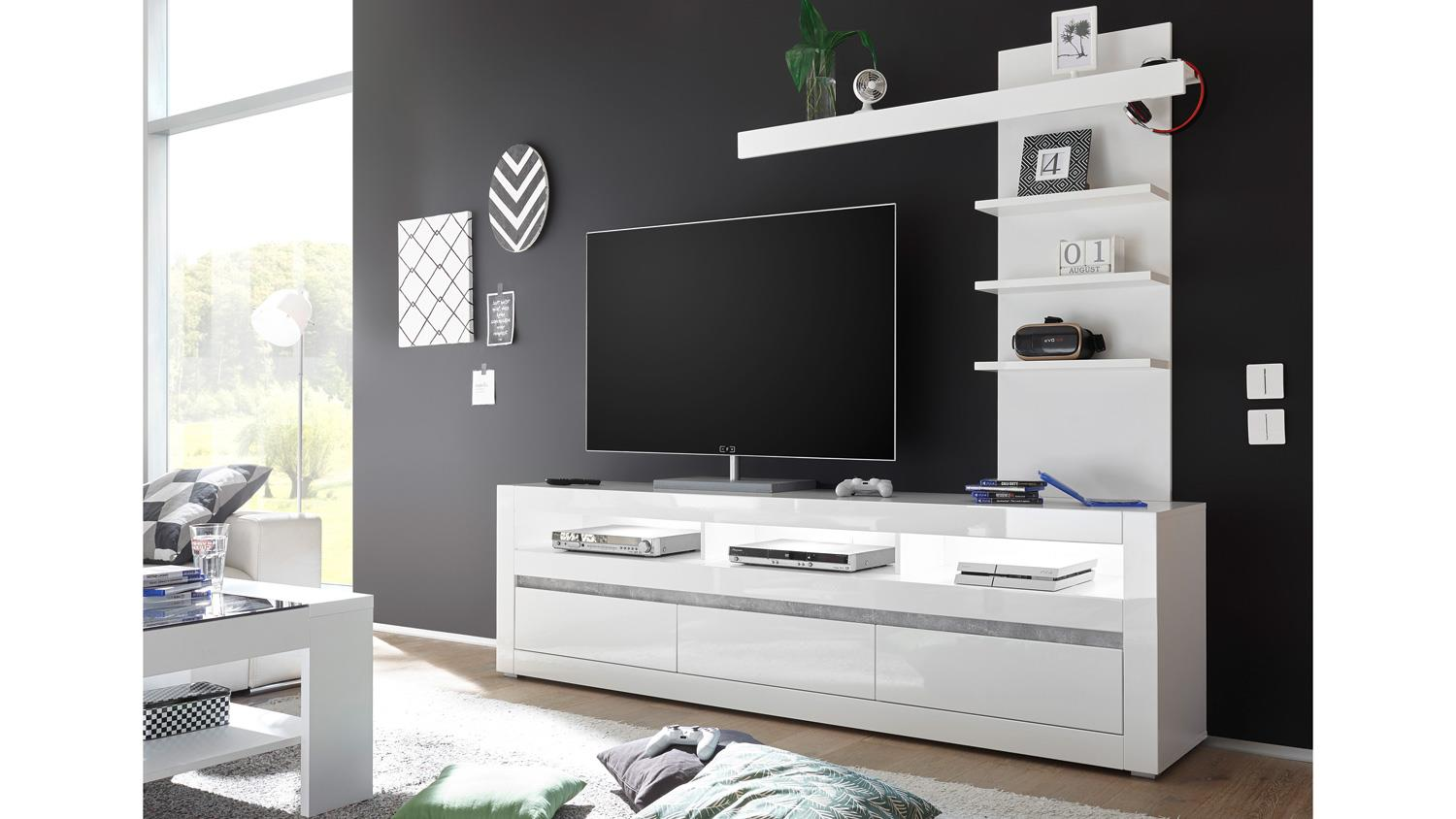 wohnwand 3 carat anbauwand tv board regal wei hochglanz beton grau. Black Bedroom Furniture Sets. Home Design Ideas