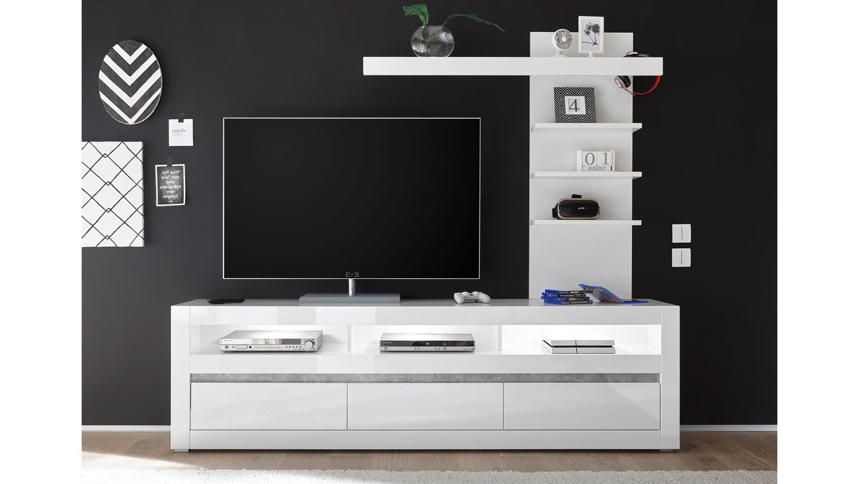 wohnwand 3 carat anbauwand tv board regal wei hochglanz beton grau. Black Bedroom Furniture Sets. Home Design Ideas