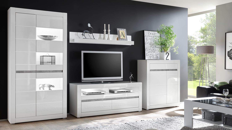 Wohnwand 4 CARAT Anbauwand Wohnzimmer weiß Hochglanz und Beton grau