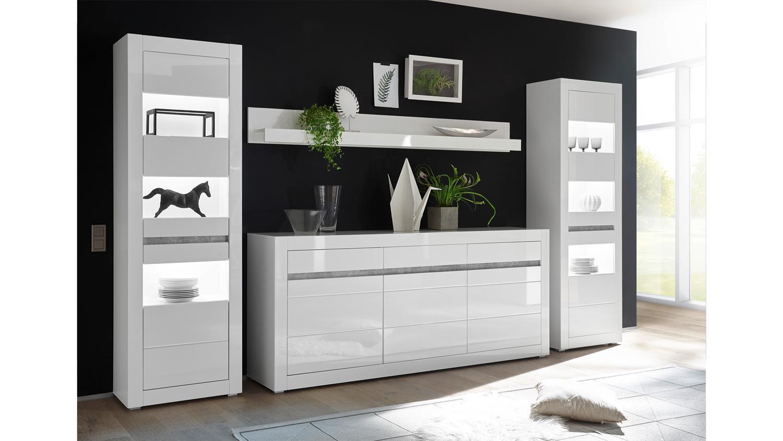 wohnkombi carat wohnwand wei hochglanz beton grau. Black Bedroom Furniture Sets. Home Design Ideas