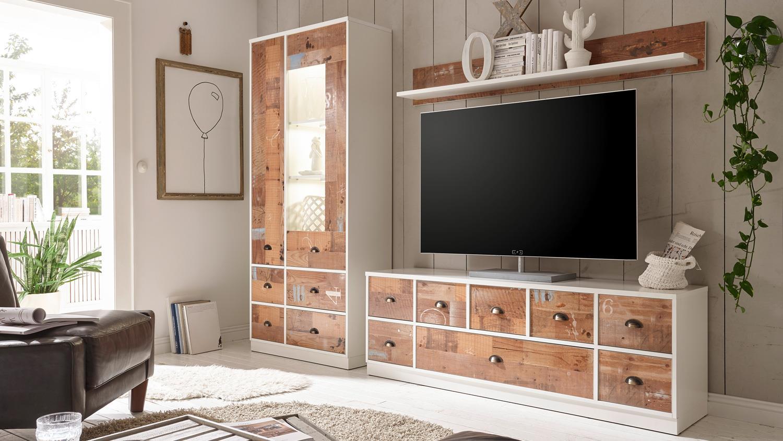 Wohnwand 2 WORKBENCH Anbauwand Wohnzimmer in Old Fashion braun weiß