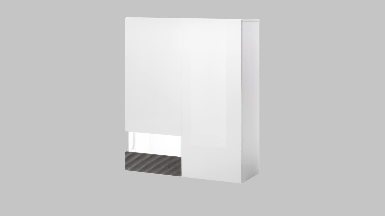 h ngevitrine conzept one vitrine schrank wei hochglanz stone grau. Black Bedroom Furniture Sets. Home Design Ideas