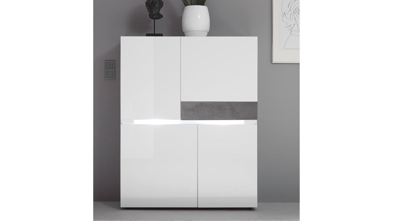 highboard conzept one sideboard kommode wei hochglanz und stone grau. Black Bedroom Furniture Sets. Home Design Ideas