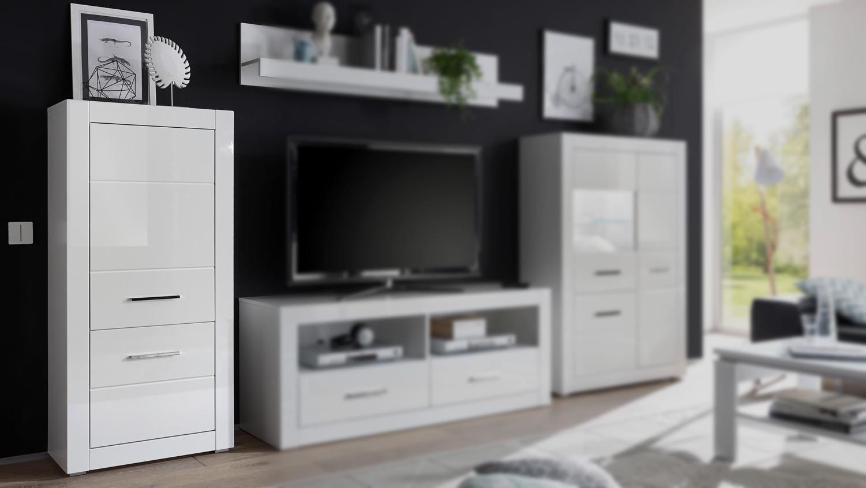 Schrank BIANCO Highboard Wohnzimmerschrank Kommode in weiß Hochglanz