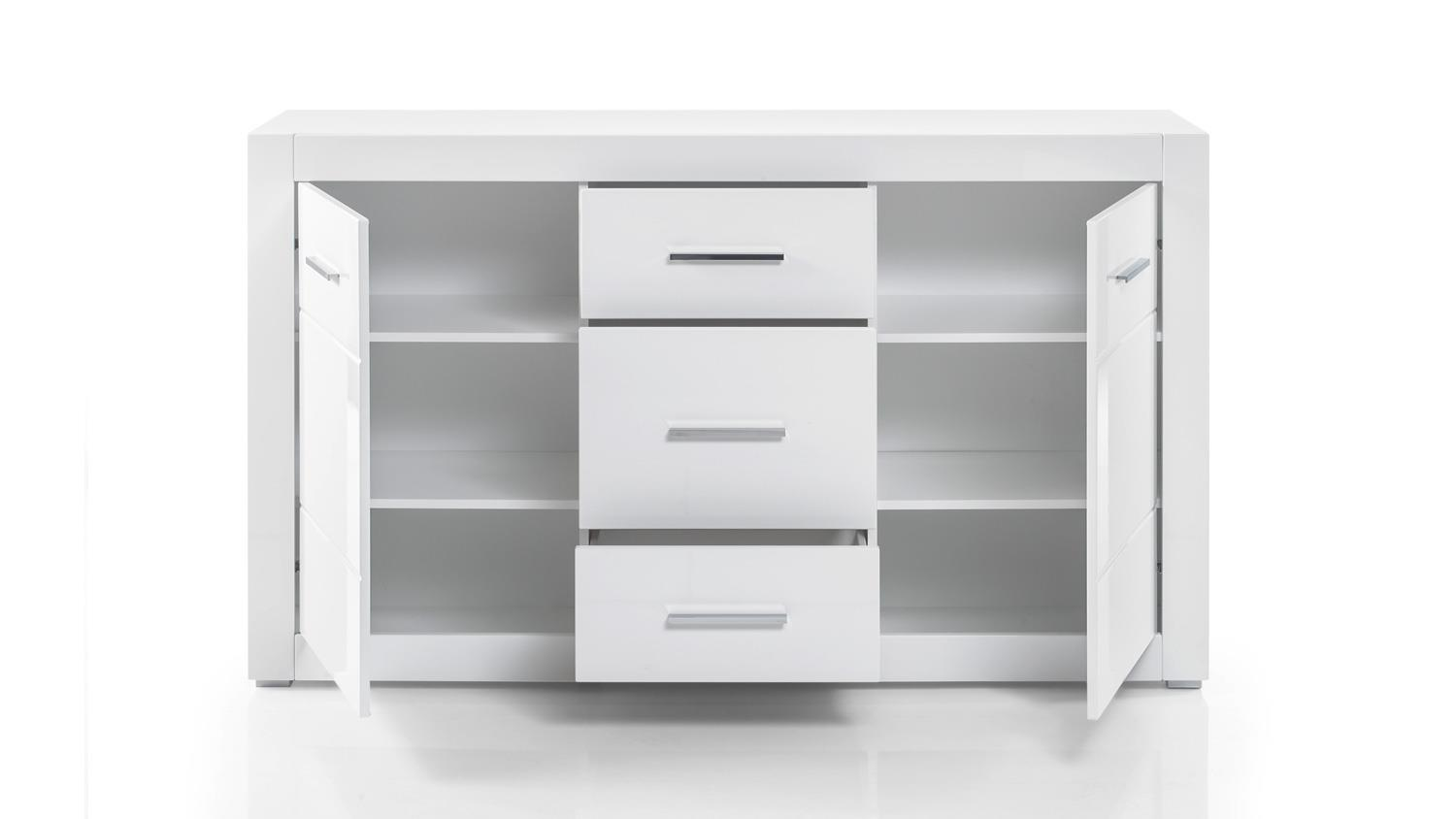 sideboard bianco kommode anrichte schrank in wei hochglanz mit glas. Black Bedroom Furniture Sets. Home Design Ideas
