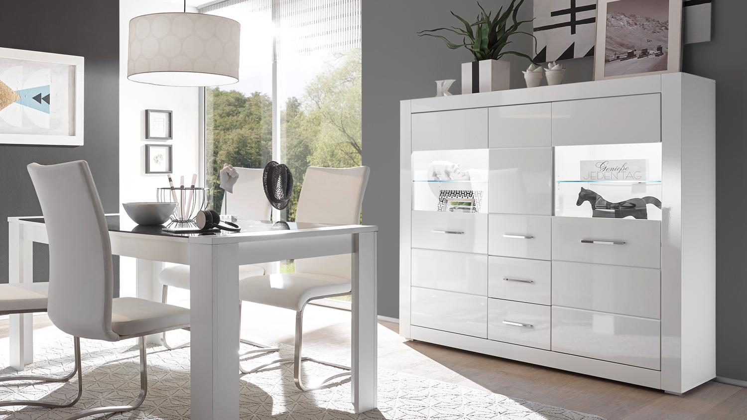 highboard bianco vitrine buffet schrank in wei hochglanz mit glas. Black Bedroom Furniture Sets. Home Design Ideas