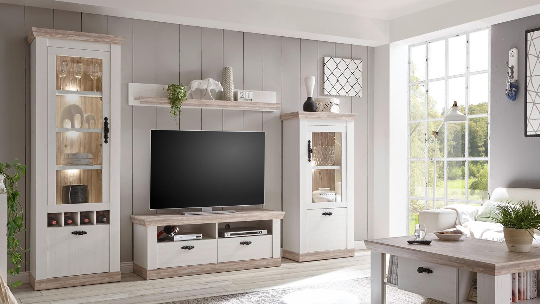 TV-Board FLORENZ Lowboard Fernsehunterschrank Oslo Pinie weiß 134 cm