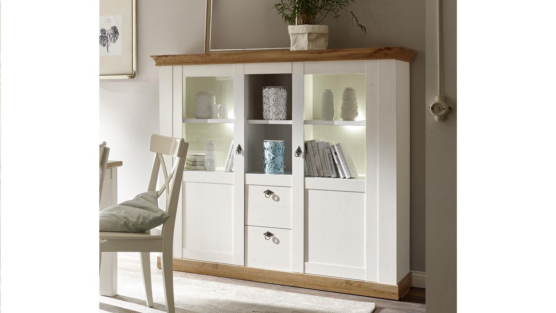highboard landhaus pinie wei und wotan eiche anrichte. Black Bedroom Furniture Sets. Home Design Ideas