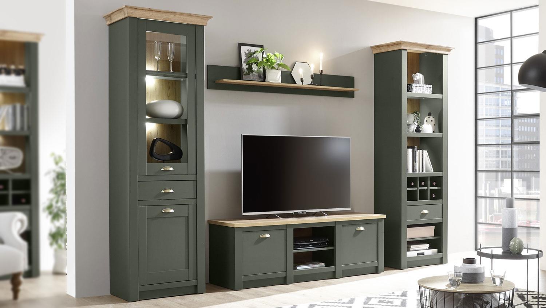 Wohnwand CAMBRIDGE Wohnzimmer Anbauwand Set 10-teilig grün
