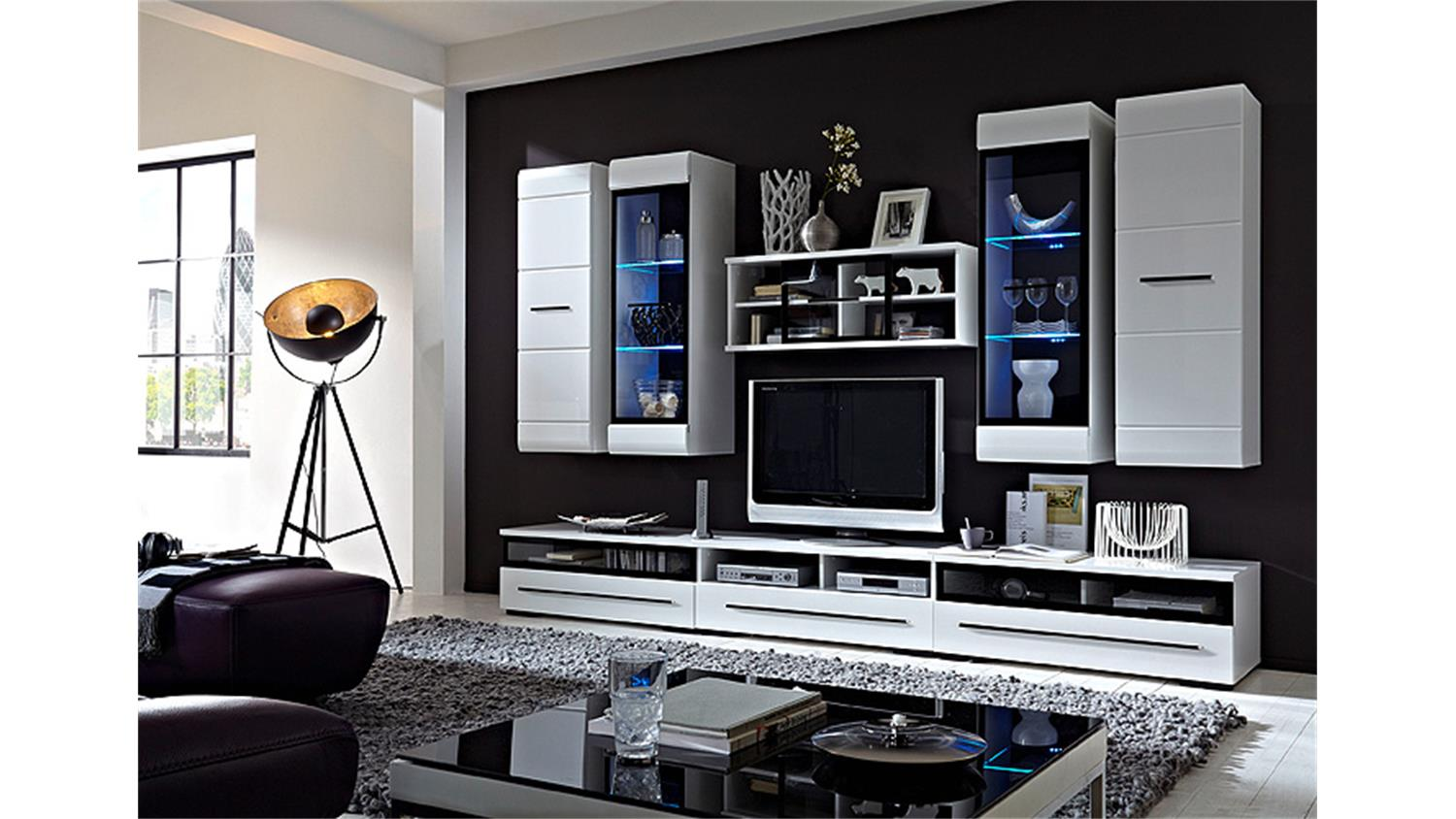 wohnwand hit wei hochglanz lackiert glasrahmen schwarz. Black Bedroom Furniture Sets. Home Design Ideas