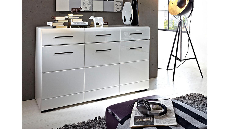 wohnwand hit wei hochglanz lackiert glasrahmen schwarz. Black Bedroom Furniture Sets. Home Design Ideas