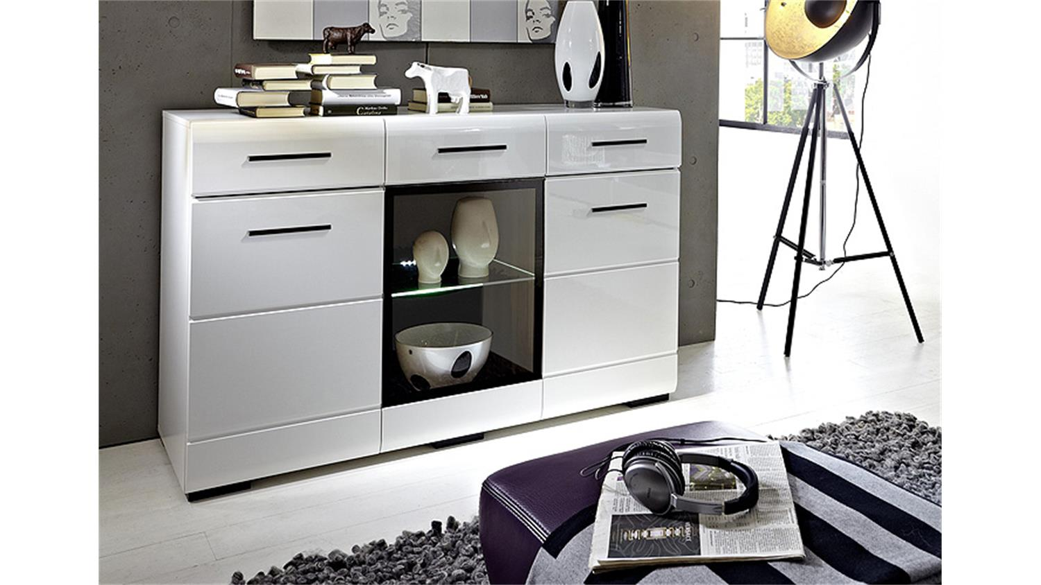 sideboard hit front wei hochglanz glaseinlage mit led. Black Bedroom Furniture Sets. Home Design Ideas