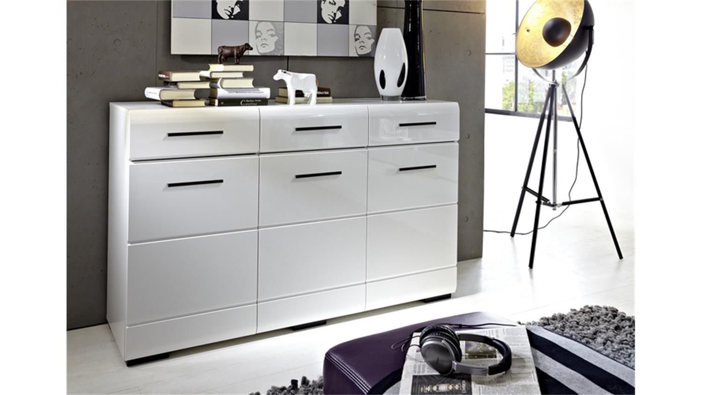sideboard hit hochglanz wei 3 t rig mit schwarzen griffen. Black Bedroom Furniture Sets. Home Design Ideas