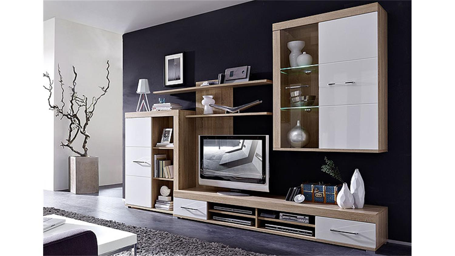 wohnzimmerm bel wei hochglanz. Black Bedroom Furniture Sets. Home Design Ideas