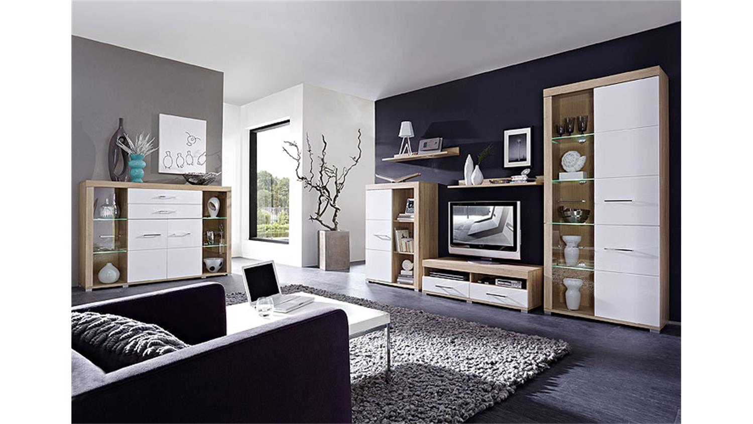 wohnwand ii zento wei hochglanz sonoma eiche s gerau hell. Black Bedroom Furniture Sets. Home Design Ideas