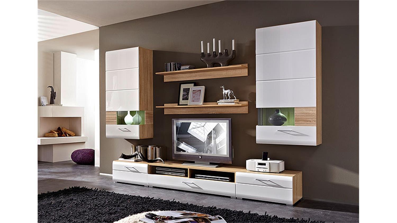 wohnwand nandez 1 wei hochglanz sonoma eiche s gerau hell. Black Bedroom Furniture Sets. Home Design Ideas