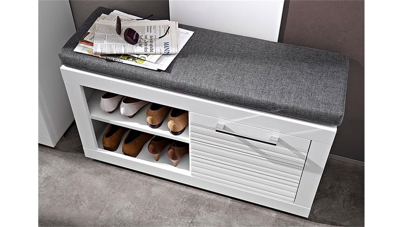 Bank life mit sitzkissen schuhbank mdf wei hochglanz for Modernes schuhregal