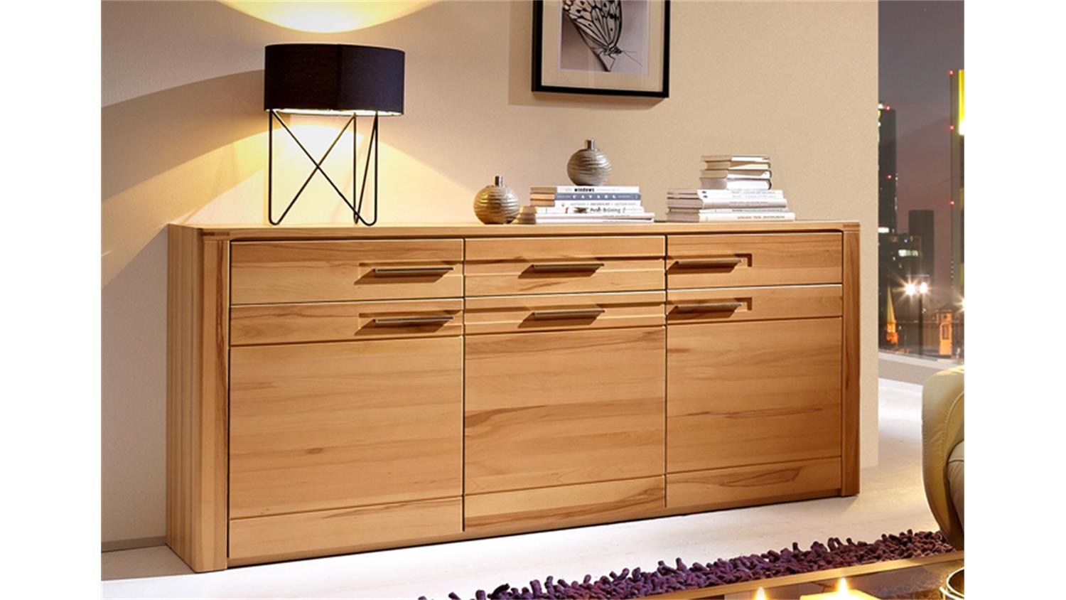 sideboard nature plus kernbuche teilmassiv lackiert. Black Bedroom Furniture Sets. Home Design Ideas