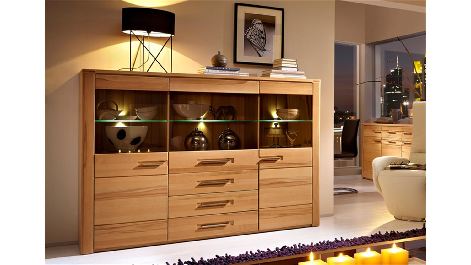highboard nature plus schrank kernbuche massiv lackiert. Black Bedroom Furniture Sets. Home Design Ideas