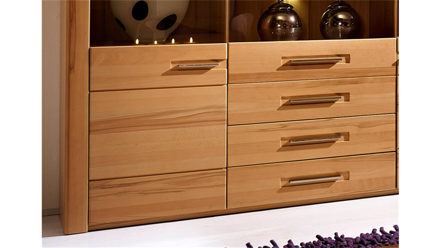 Highboard Nature Plus Kernbuche Teilmassiv Lackiert