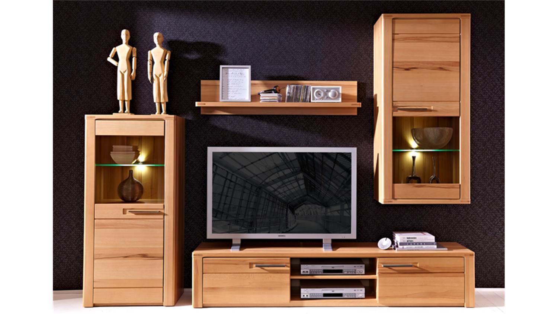 Tv board lang nature plus kernbuche teilmassiv lackiert for Wohnzimmermobel massiv