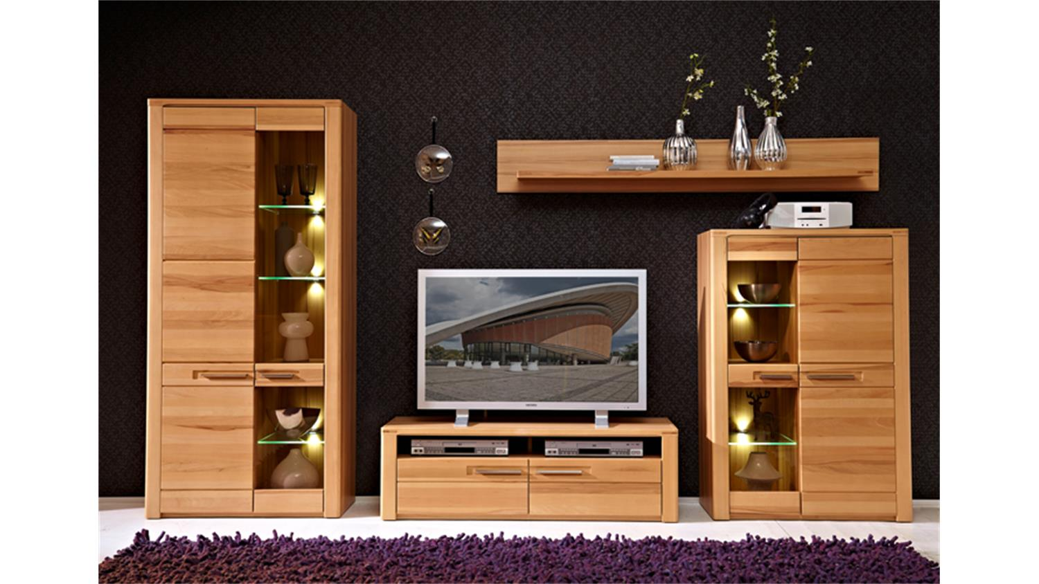 wohnwand 1 nature plus front kernbuche massiv lackiert 4 tlg. Black Bedroom Furniture Sets. Home Design Ideas