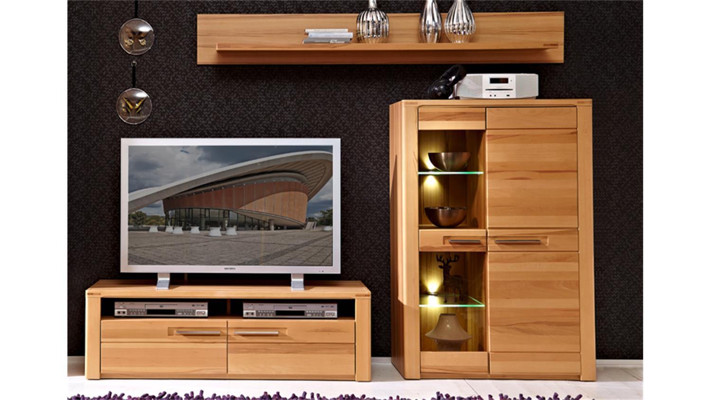 wohnwand 1 nature plus front kernbuche massiv lackiert 4 tlg. Black Bedroom Furniture Sets. Home Design Ideas