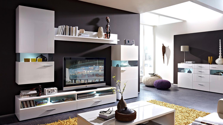 wohnwand manhattan 2 wei hochglanz mit led beleuchtung. Black Bedroom Furniture Sets. Home Design Ideas