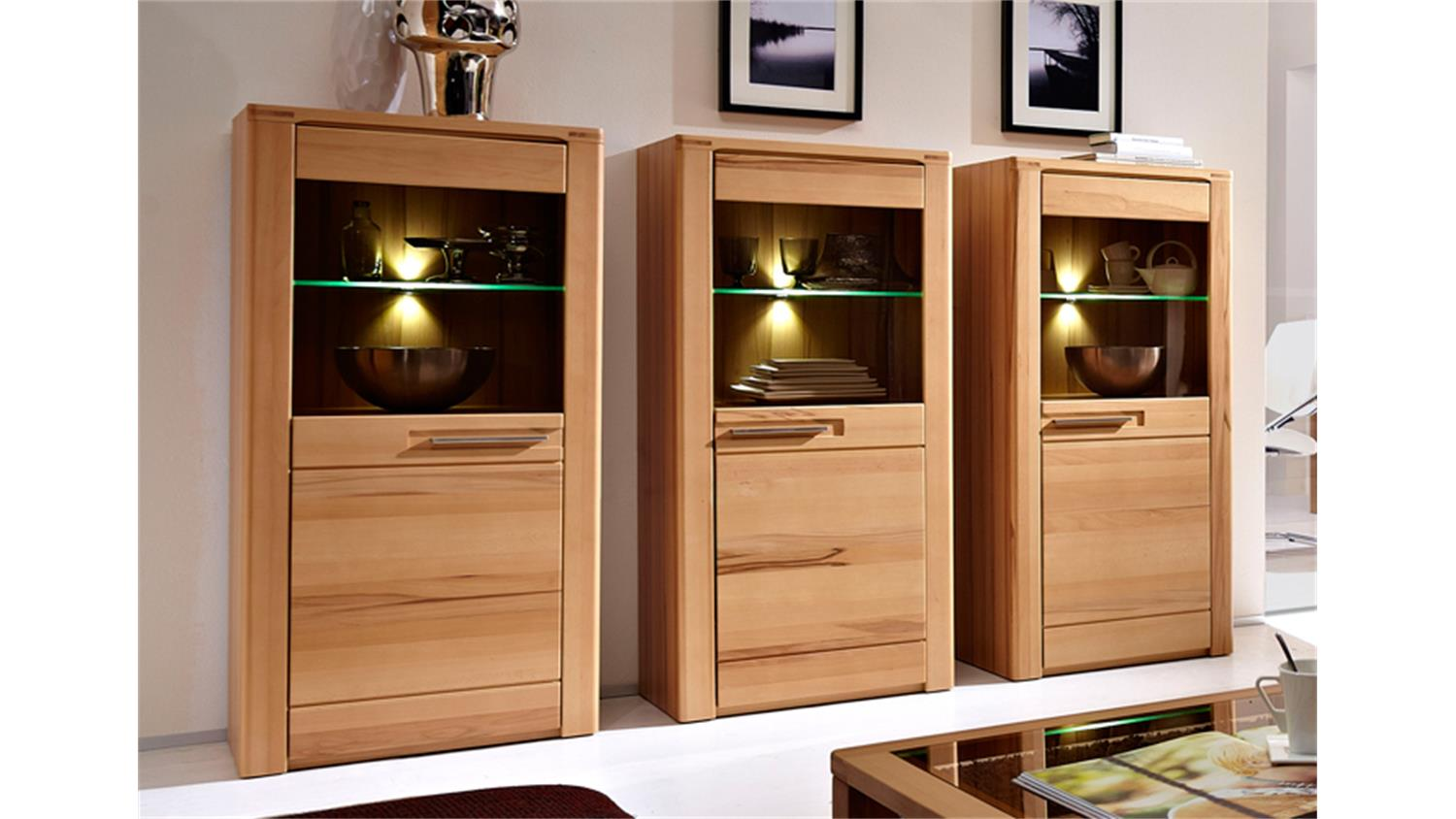 vitrine nature plus in kernbuche teilmassiv lackiert 3er set. Black Bedroom Furniture Sets. Home Design Ideas