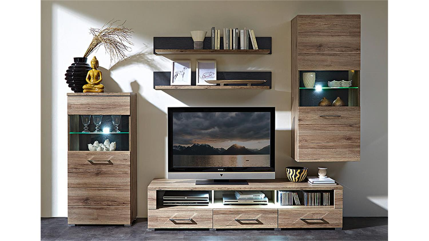 wohnwand deal 3 san remo eiche vitrinen tv board mit led. Black Bedroom Furniture Sets. Home Design Ideas
