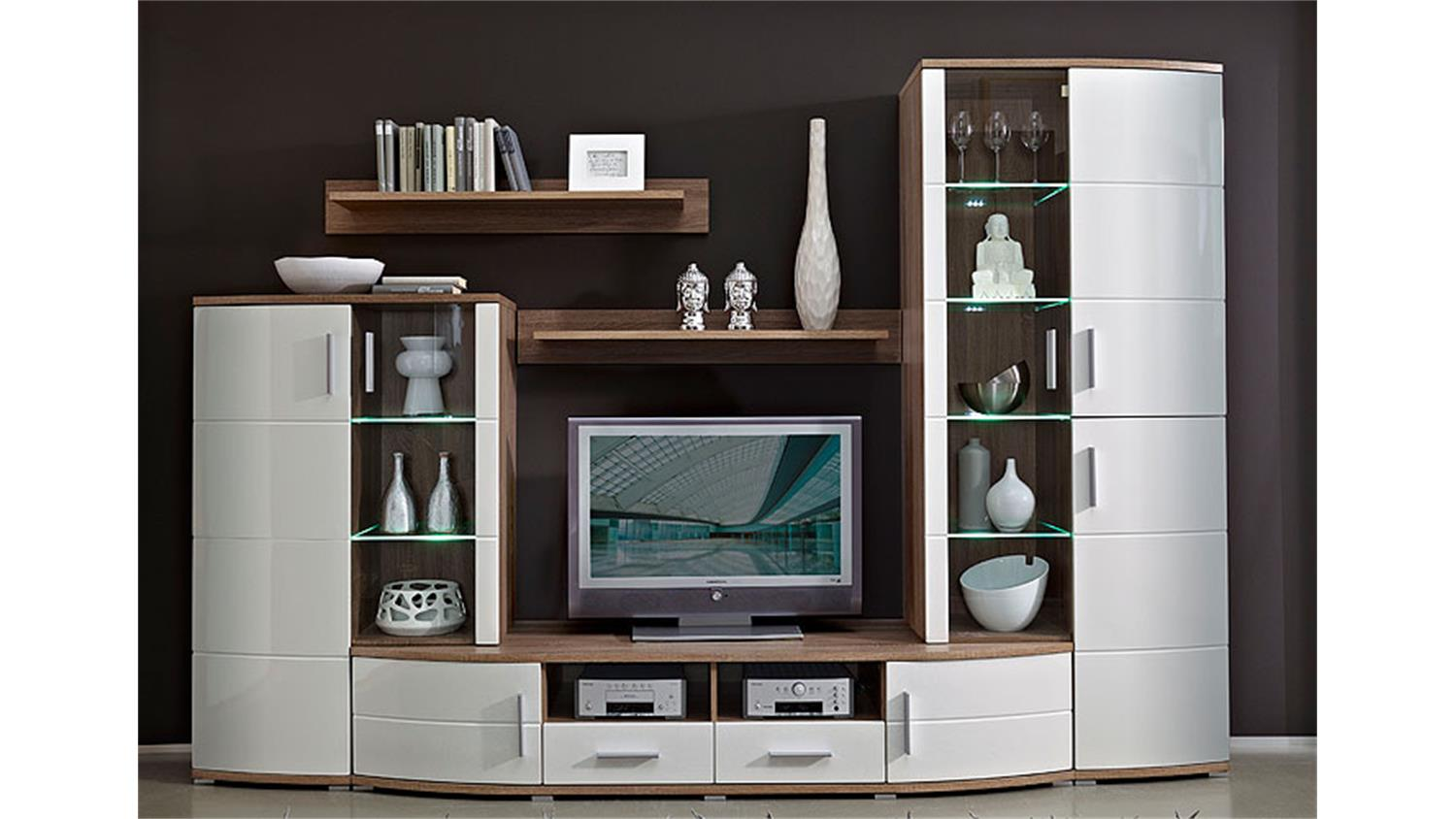 wohnwand sana wei hochglanz mdf sonoma eiche inkl led. Black Bedroom Furniture Sets. Home Design Ideas