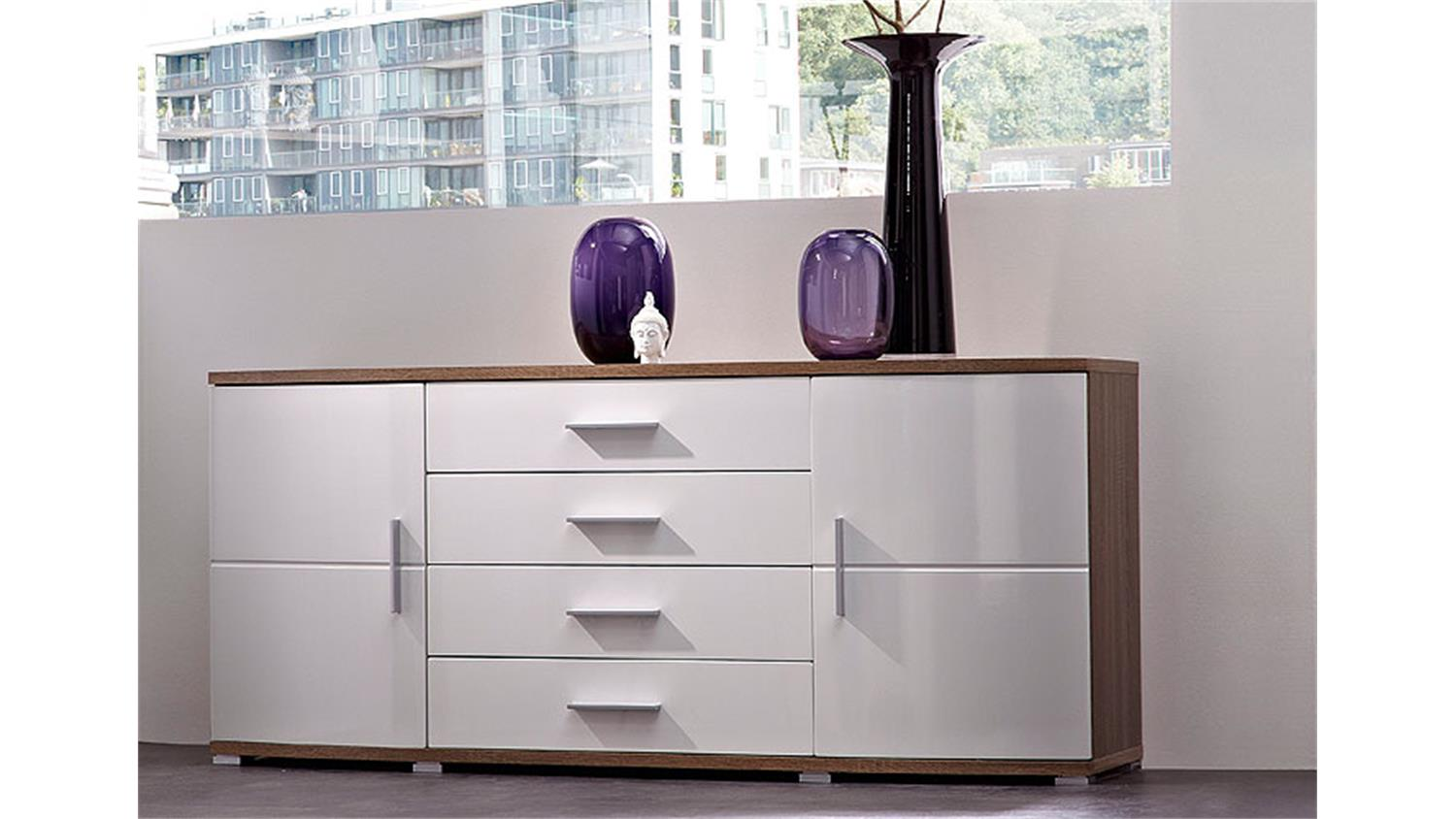 sana sideboard wei hochglanz mdf sonoma eiche. Black Bedroom Furniture Sets. Home Design Ideas