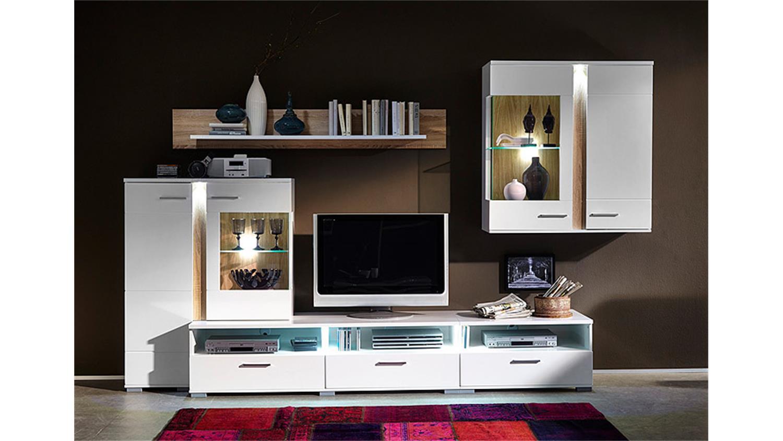 wohnwand spot wei hochglanz sonoma eiche s gerau hell led. Black Bedroom Furniture Sets. Home Design Ideas