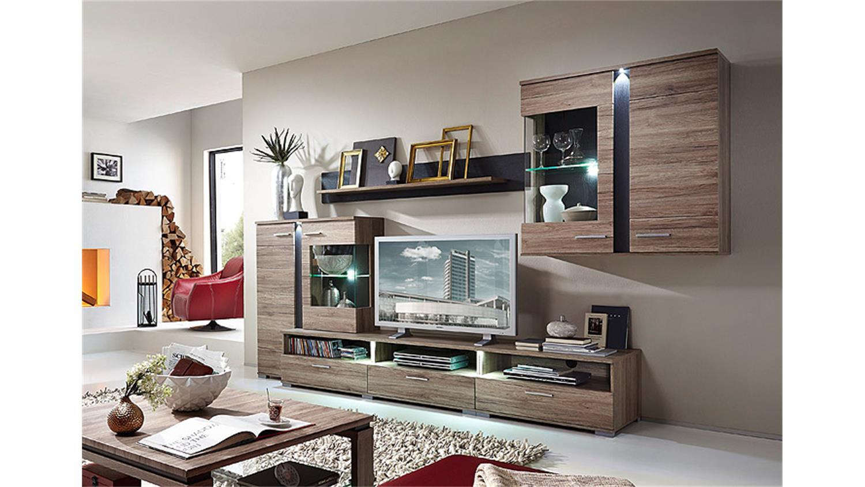 wohnwand spot san remo eiche schieferl led. Black Bedroom Furniture Sets. Home Design Ideas