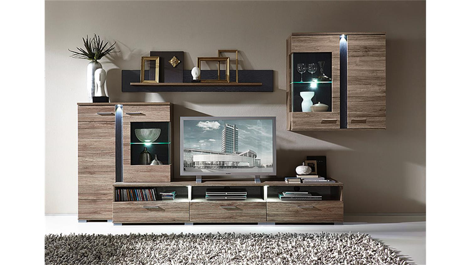 wohnwand spot san remo eiche schieferl led. Black Bedroom Furniture Sets. Home Design Ideas