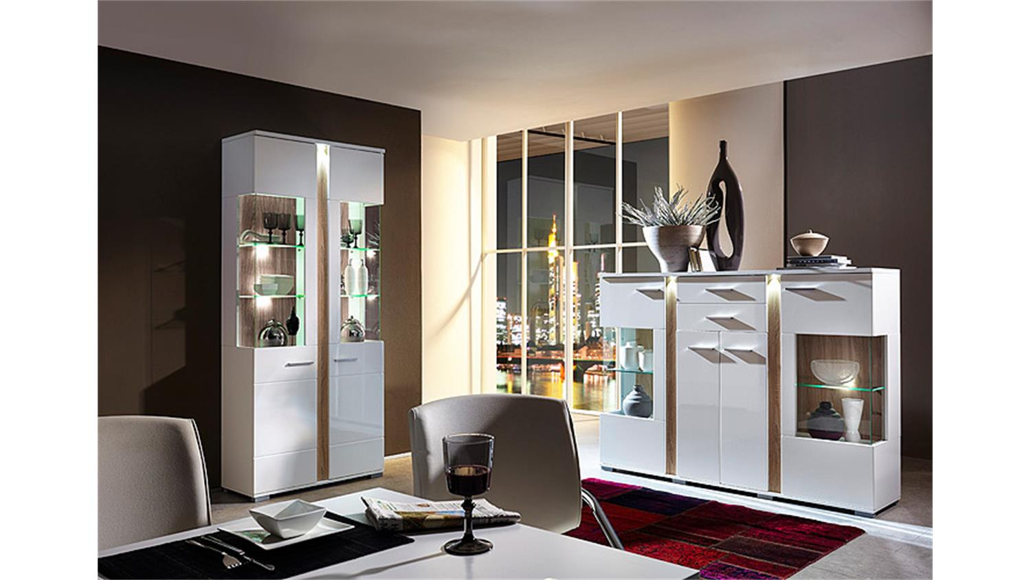vitrine spot wei hochglanz sonoma eiche s gerau hell led. Black Bedroom Furniture Sets. Home Design Ideas