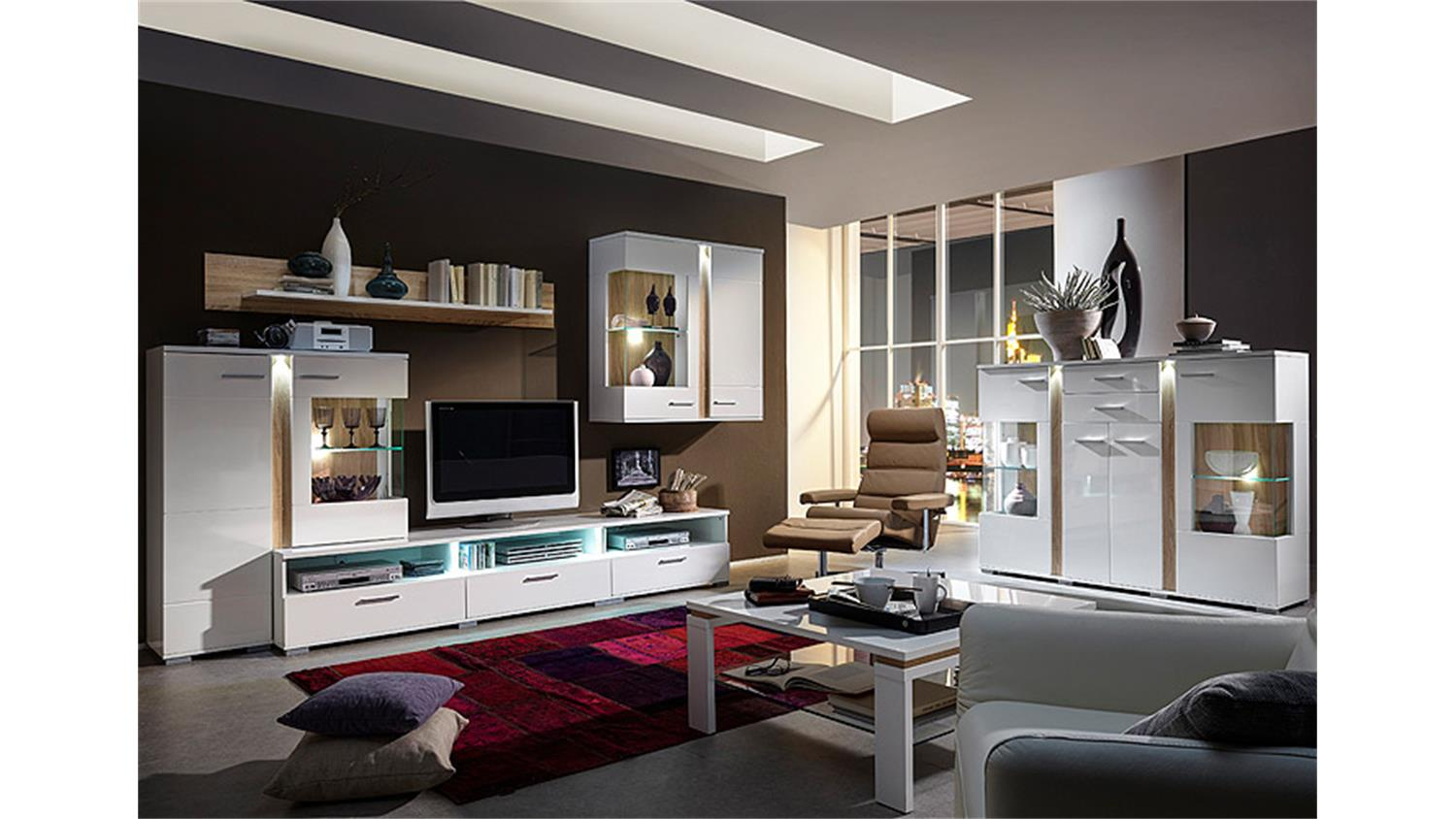 highboard spot wei hochglanz sonoma eiche s gerau hell led. Black Bedroom Furniture Sets. Home Design Ideas