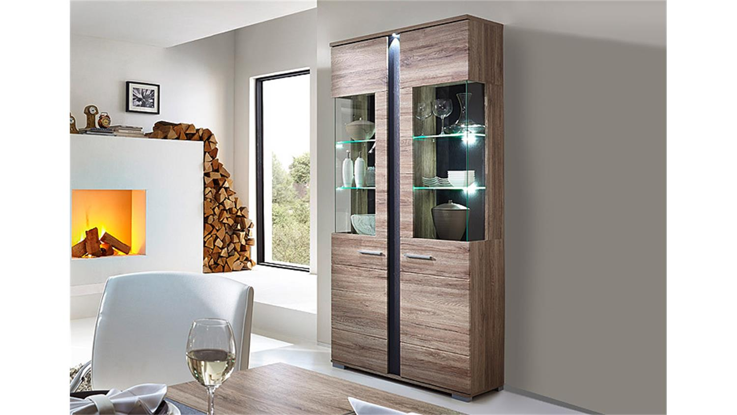 vitrine spot san remo eiche schiefer led. Black Bedroom Furniture Sets. Home Design Ideas