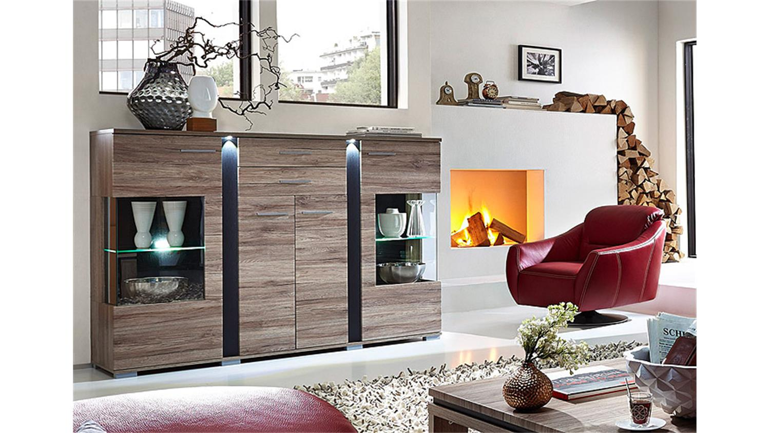 highboard spot san remo eiche schiefer led. Black Bedroom Furniture Sets. Home Design Ideas