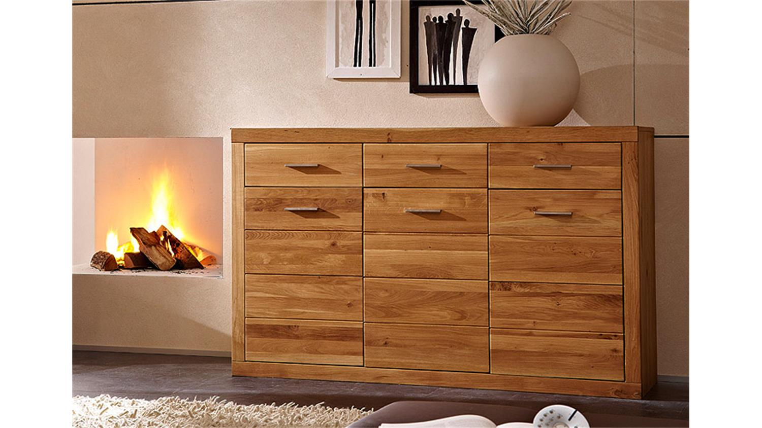 sideboard pur kommode anrichte in wildeiche massiv 3 t rig. Black Bedroom Furniture Sets. Home Design Ideas