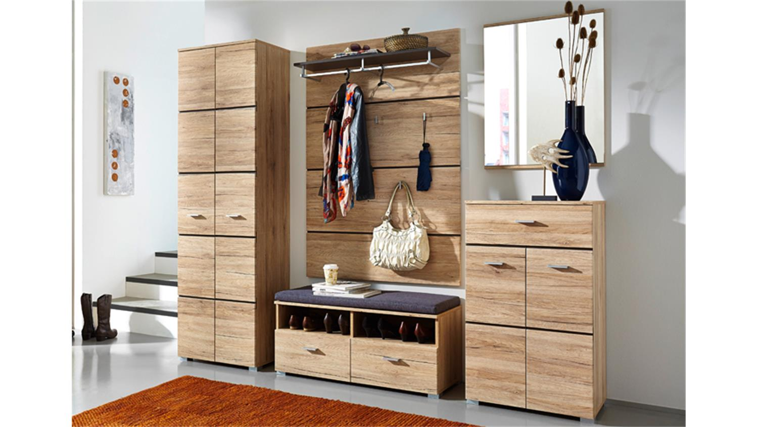 garderobe kombination fresh san remo eiche hell. Black Bedroom Furniture Sets. Home Design Ideas