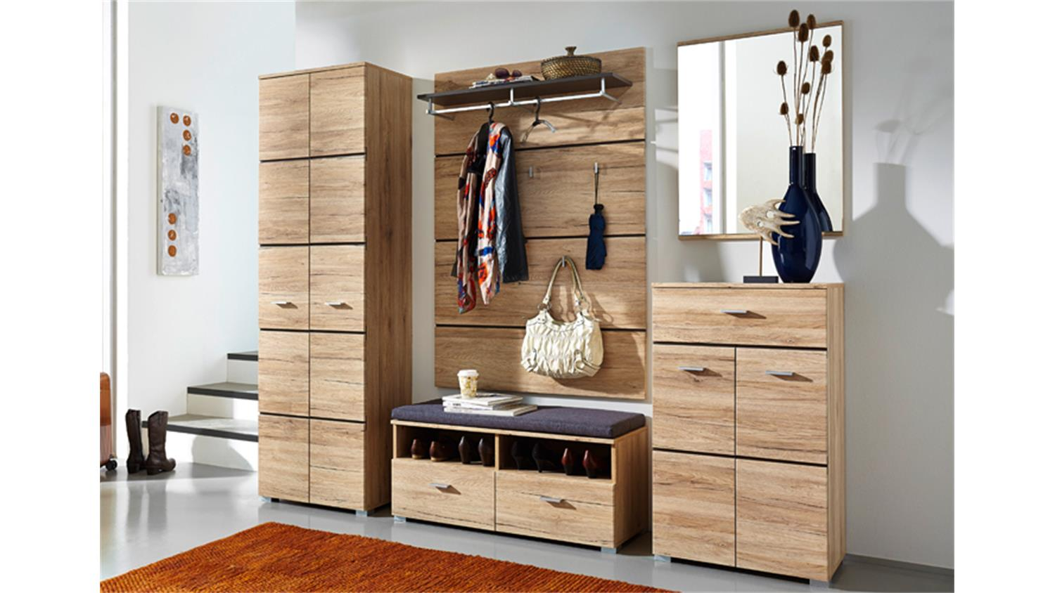 bank garderobe fresh san remo eiche hell. Black Bedroom Furniture Sets. Home Design Ideas