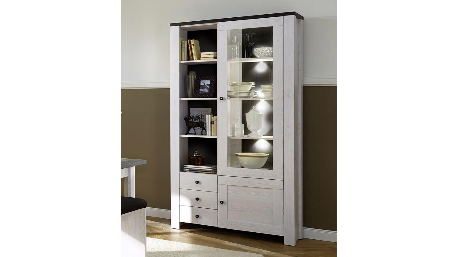 vitrine antwerpen 1 schrank in l rche pinie dunkel inkl led. Black Bedroom Furniture Sets. Home Design Ideas